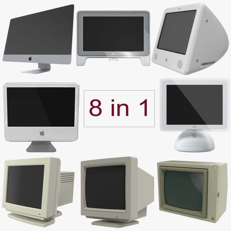 3d model apple monitors modeled imac