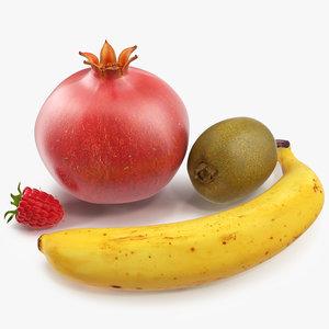 fruits modeled kiwi raspberry 3d model