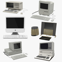 Retro Apple Computers 3D Models Collection