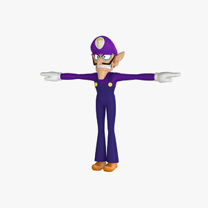 3d model waluigi rigged cartoon