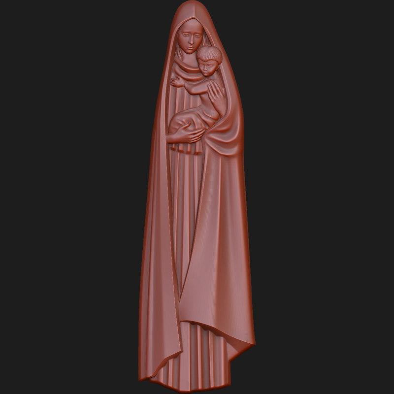 3d virgin mary baby model