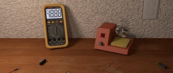 3d soldering iron led model