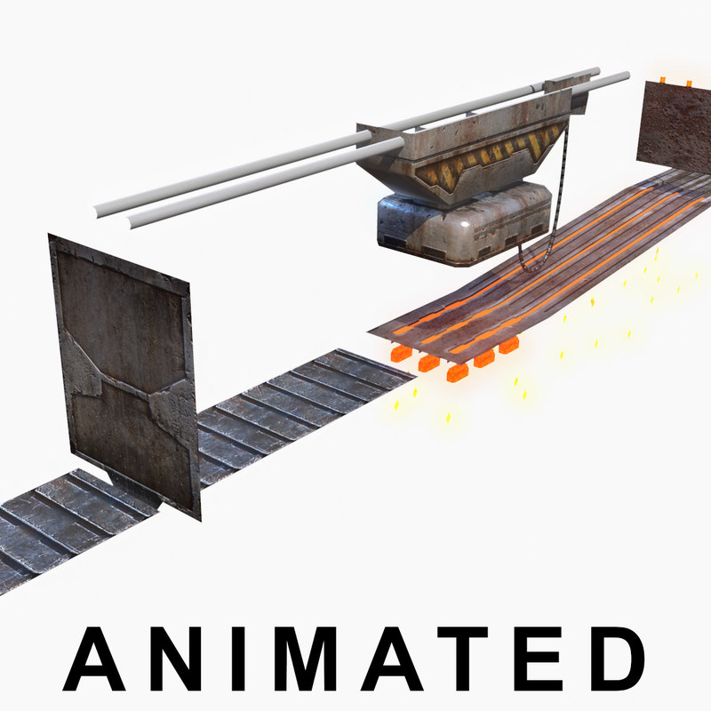 low-poly conveyor foundry 3d max