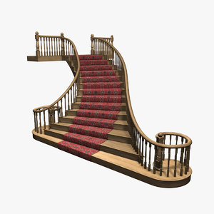 3d model ornate staircase