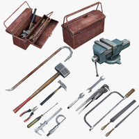 set low-poly mechanic tools 3ds