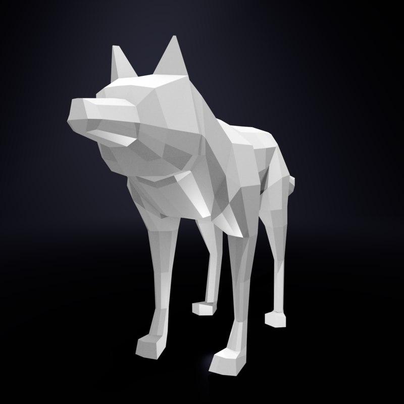 3d wolf base mesh model
