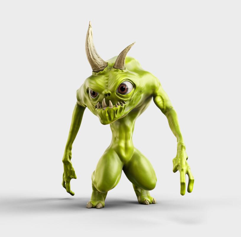 3d model green cartoon monster