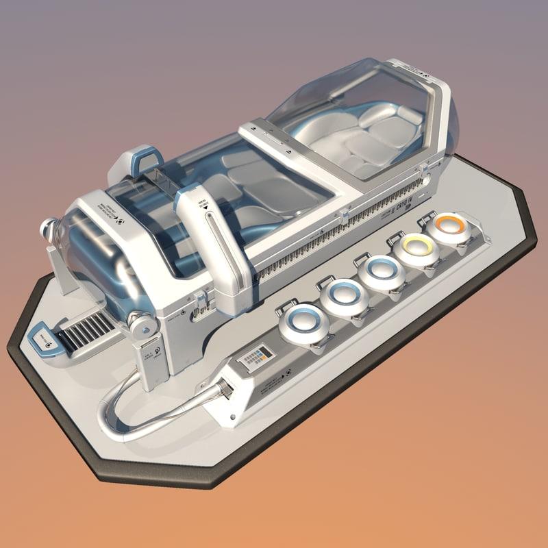obj futuristic sci fi cryopod