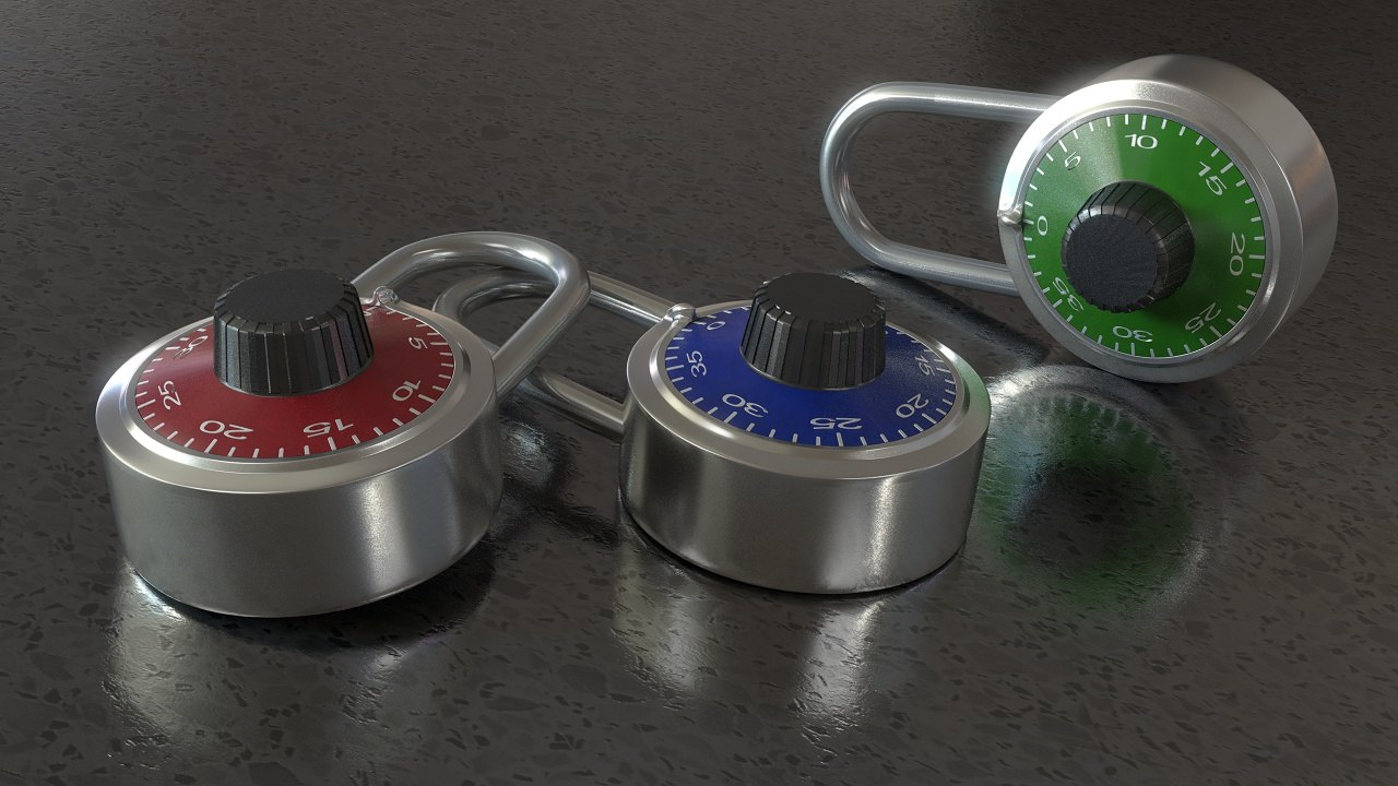 3d model combination padlock lock