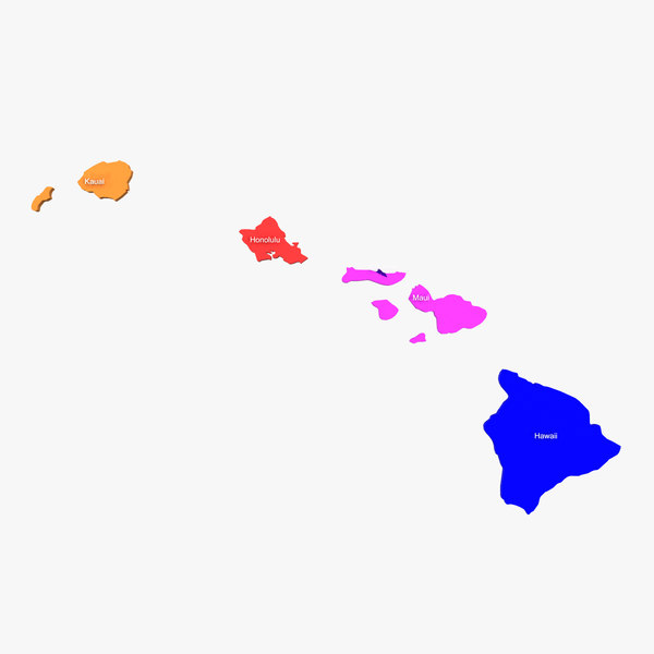 hawaii counties 3d model