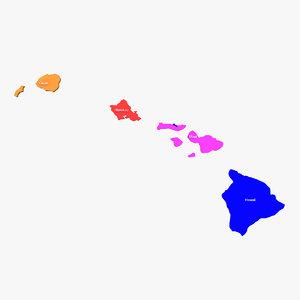 hawaii counties 3d model
