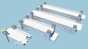 3d bridge pack bricks model