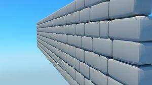 free obj model wall cartoon brick