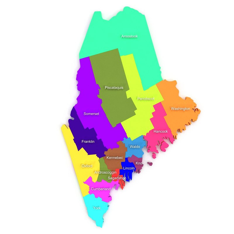 maine counties 3d model