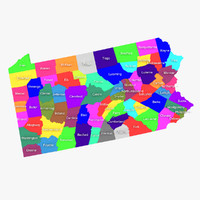 pennsylvania counties 3d model
