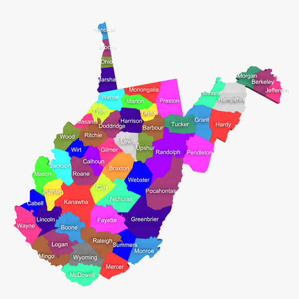3d model west virginia counties