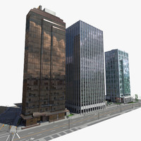 3ds max block office buildings 3