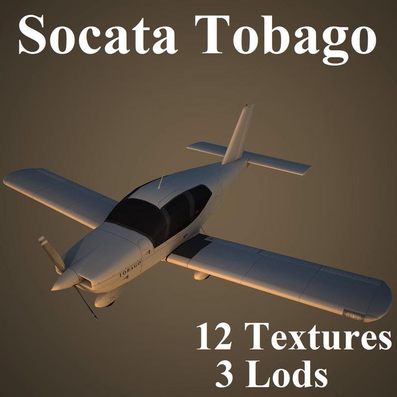 socata tobago low-poly 3d model