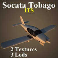socata tobago low-poly 3d max