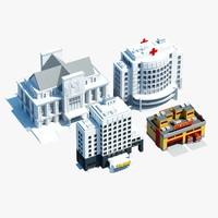 3d public city building symbols model
