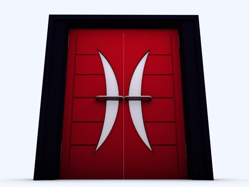 art deco crescent doors 3d model