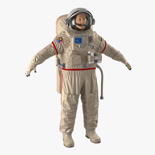 russian astronaut wearing space suit 3d model