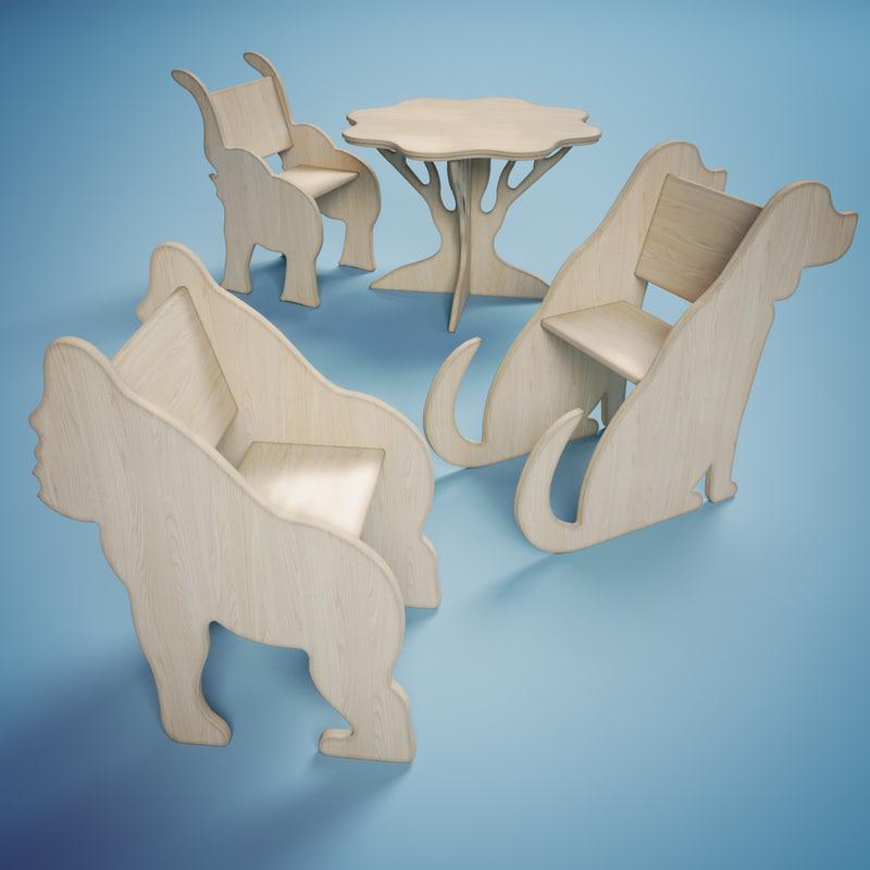 3d model wooden children