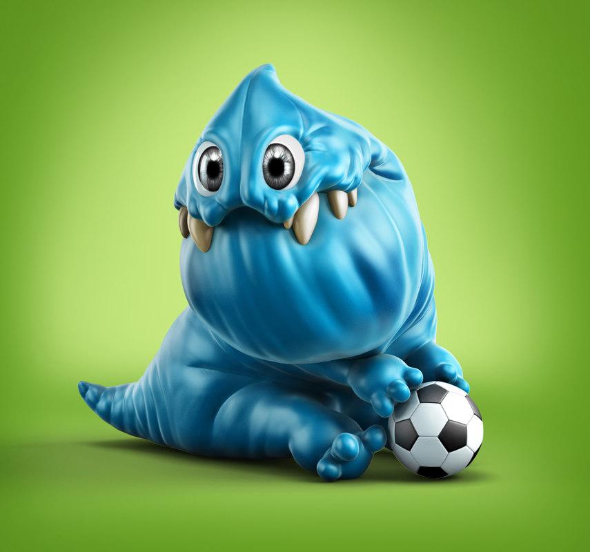3dsmax blue cartoon monster