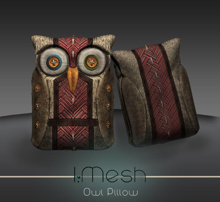 3d 3ds owl pillow