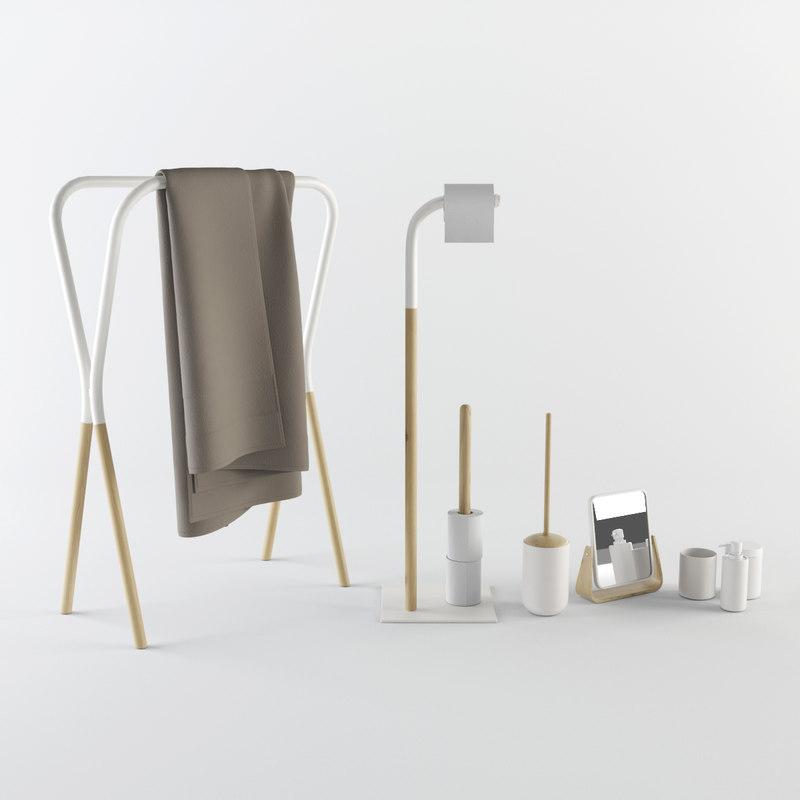 3d model bathroom set accessories