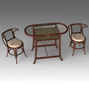 rotang table chairs 3d x