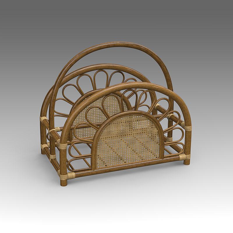 3d model rotang magazine rack