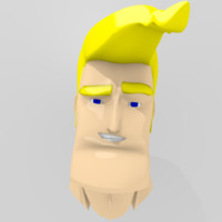 Cartoon Handsome Guy Head Rigged