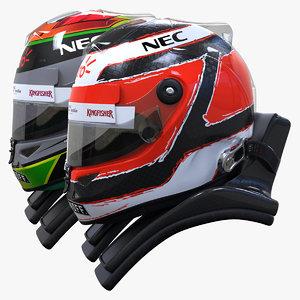 racing helmet force india 3d model
