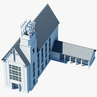 3d church building symbol model