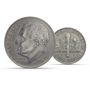 realistic dime coin 3d max