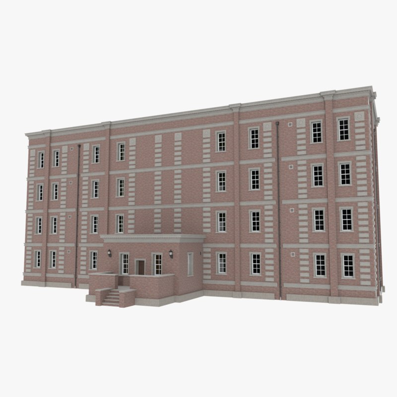 Cheap Apartments Outside Bricks: Brick Apartment Building Interior Exterior 3d Obj