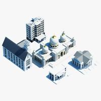 3d model public city building symbols