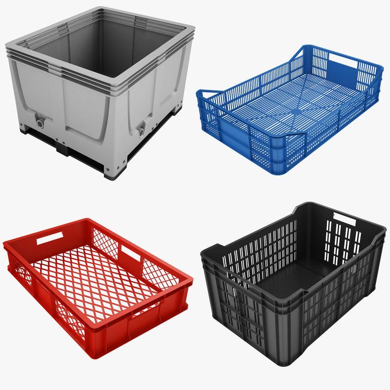 3d model plastic crate 01