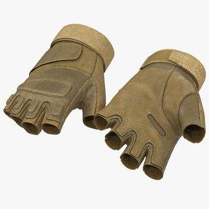 soldier gloves short finger 3d model