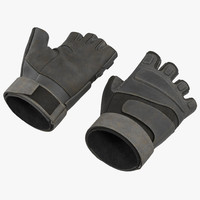 US Soldier Gloves 2 Black Short Finger 3D Model