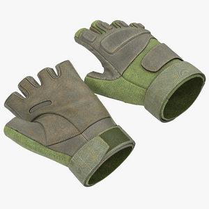 soldier gloves 2 green 3d 3ds