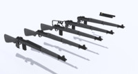 springfield rifle multiple variations 3d model