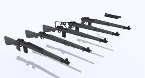 springfield rifle multiple variations 3d model