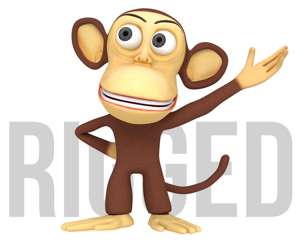 monkey cartoon character 3d max