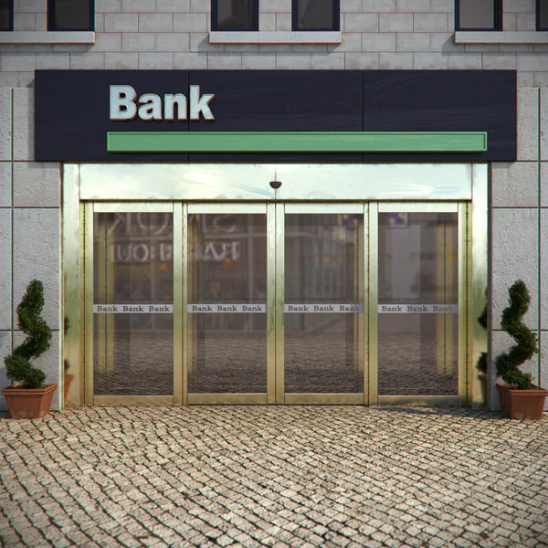 bank entrance sliding door 3d model
