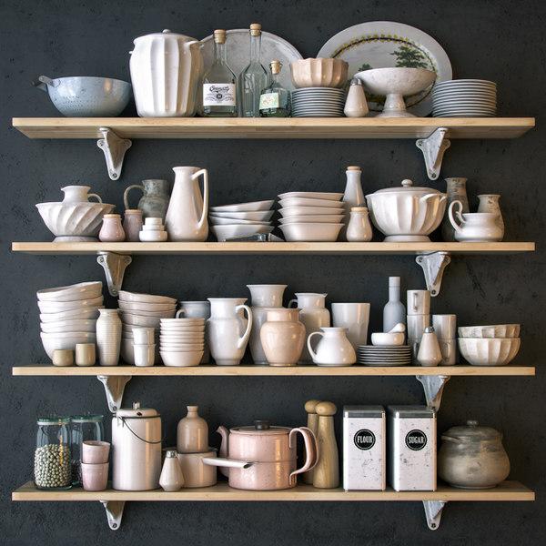 shelves dishes white 3d model