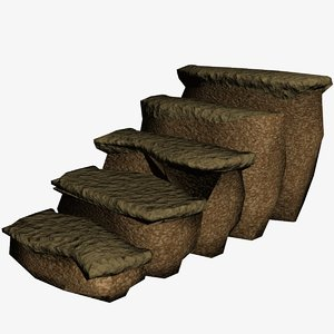 3d model rock stairs