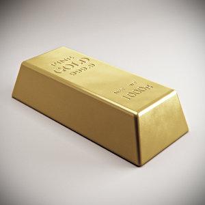gold brick 3d model