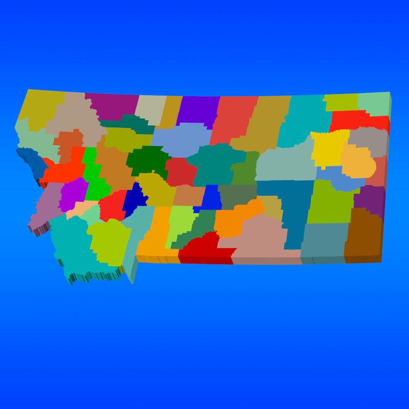 3d counties montana model